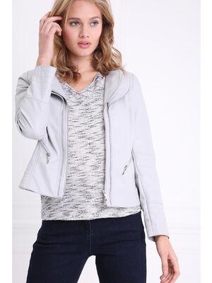 Veste courte unie zippee gris fonce femme