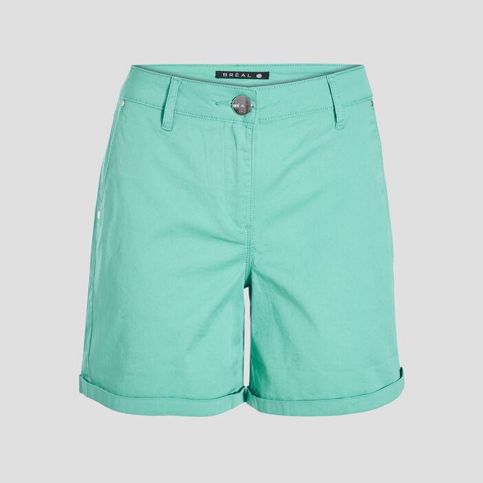 Short droit taille standard vert femme