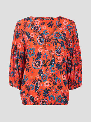 Blouse manches 34 imprimee rouge femme
