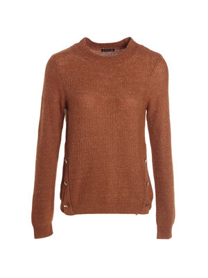Pull manches longues col rond marron femme
