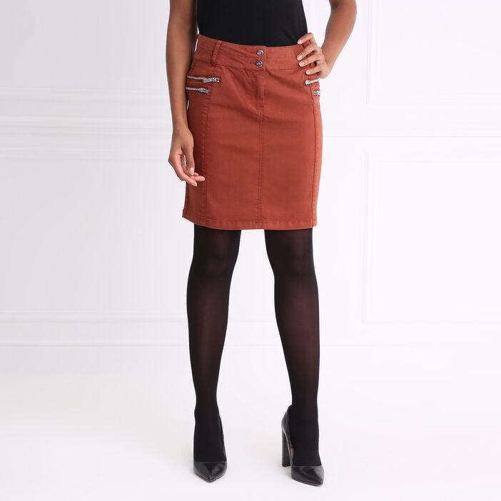 Jupe courte droite unie marron foncé femme