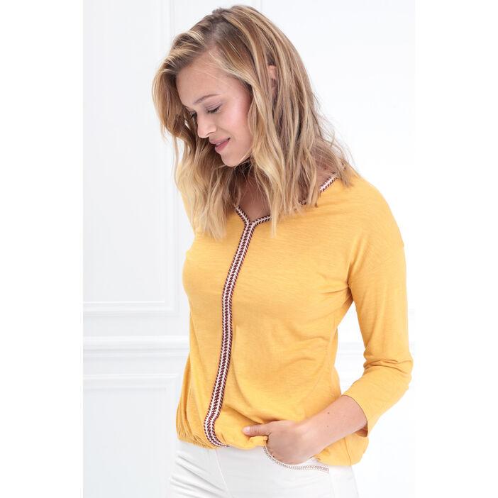 T-shirt manche 3/4 jaune femme