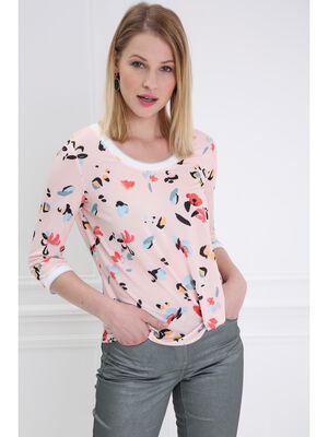 T shirt manches 34 blousant rose saumon femme
