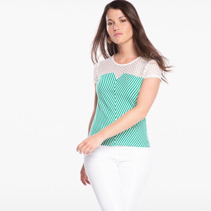 T-shirt manches courtes rayé blanc femme