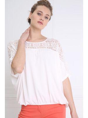 T shirt manches 34 details broderies ivoire femme