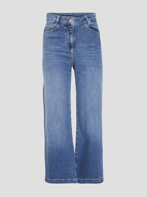 Jeans evase court denim stone femme