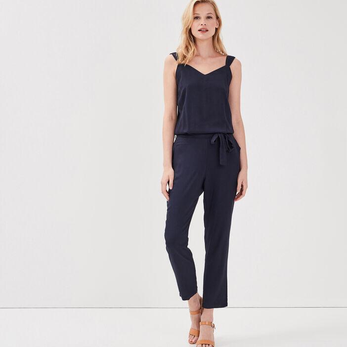 Combinaison-pantalon coupe fluide unie bleu marine femme