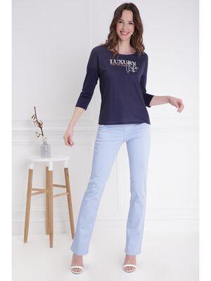 Pantalon droit taille haute bleu gris femme