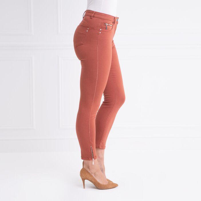 Pantalon ajusté taille haute marron foncé femme