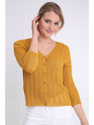 Gilet manches 34 boutonne jaune or femme