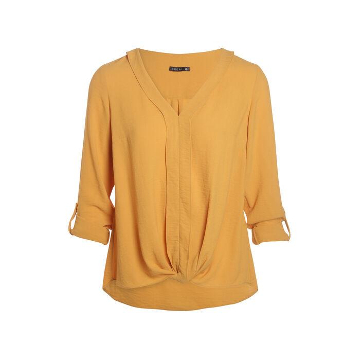 Chemise col en V maille unie jaune or femme