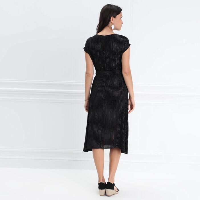 Robe ceinturée col en V noir femme