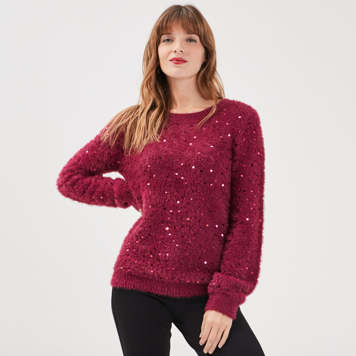 Pull manches longues à sequins rose framboise femme
