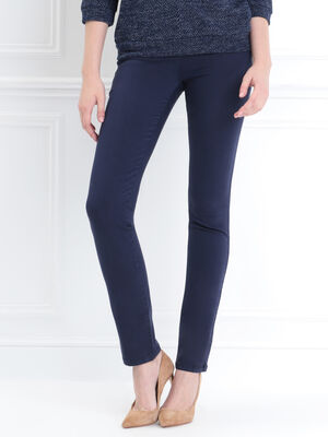 Pantalon ajuste details zip bleu marine femme
