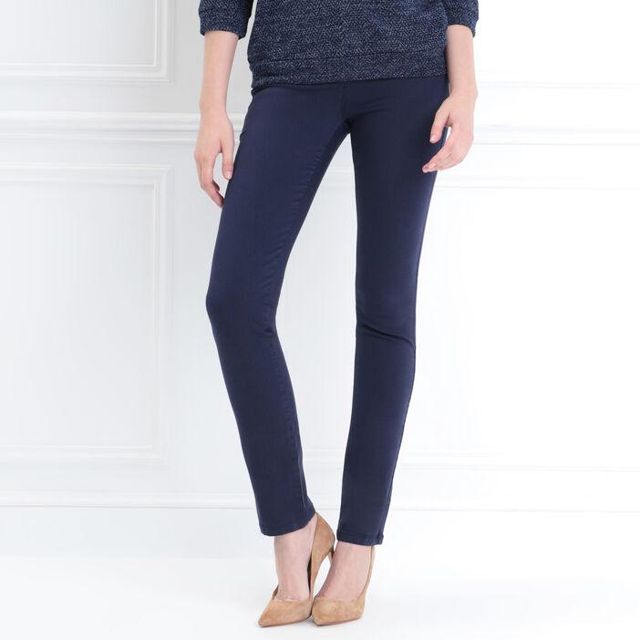 Pantalon ajusté détails zip bleu marine femme