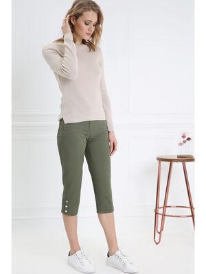 Pantacourt corsaire ajuste vert kaki femme