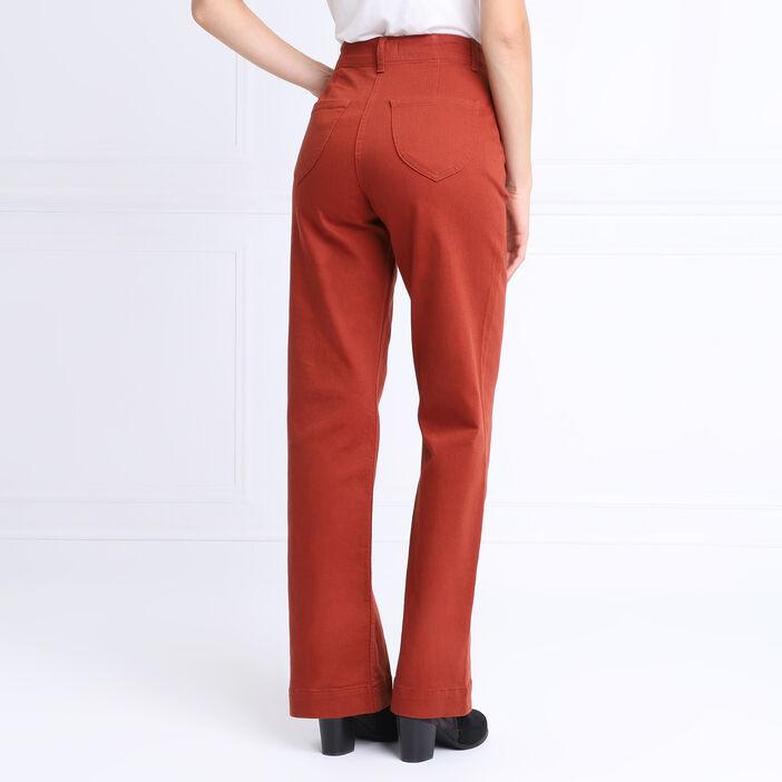 Pantalon évasé taille haute marron cognac femme