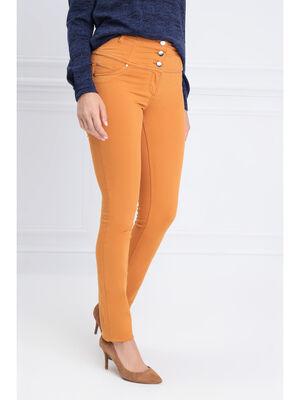 Pantalon magique gainant uni jaune moutarde femme