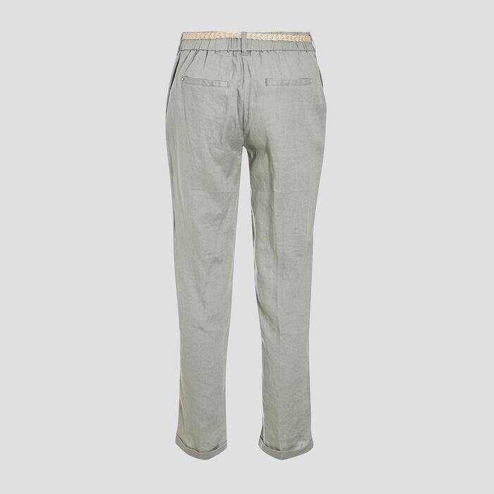 Pantalon chino taille basculée vert clair femme