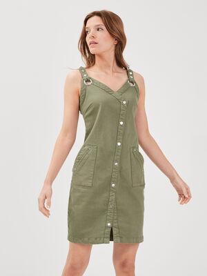 Robe ajustee a bretelles vert kaki femme