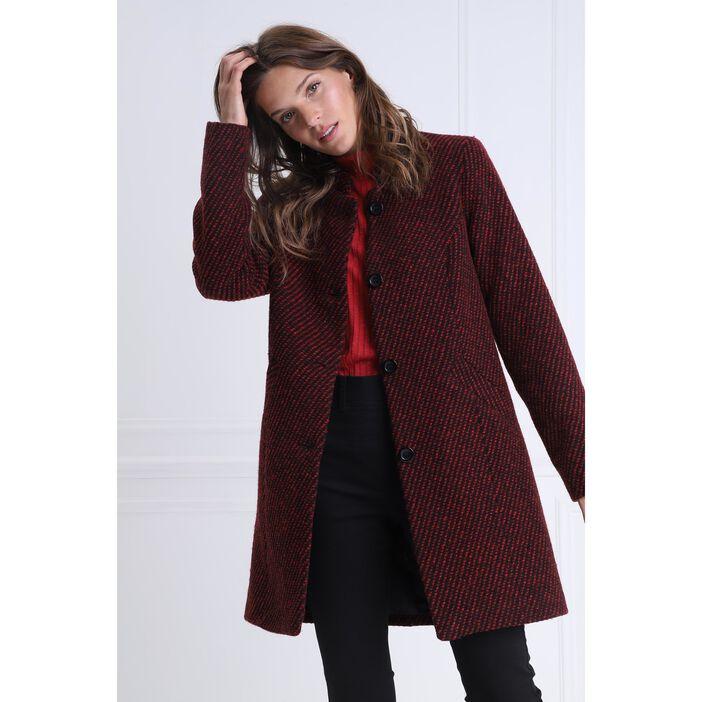 design de qualité cac46 87ac8 Manteau droit maille tweed rouge femme   Bréal