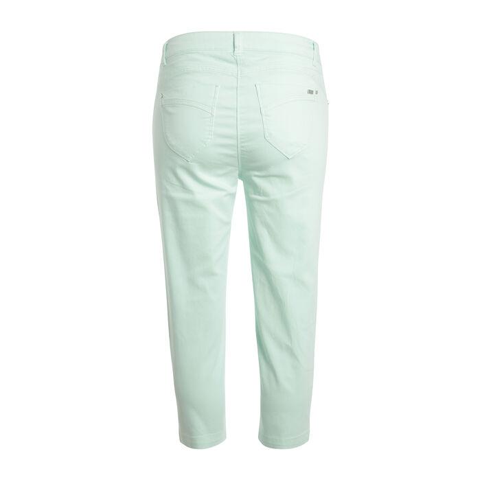 Pantacourt détail zip vert clair femme
