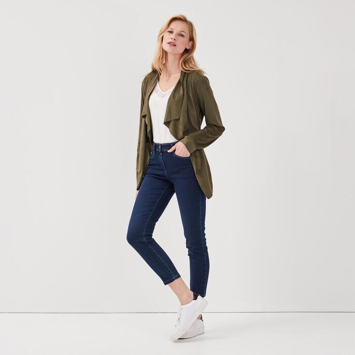 Veste droite suédine vert kaki femme