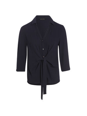 Chemise nouee taille boutonnee bleu fonce femme