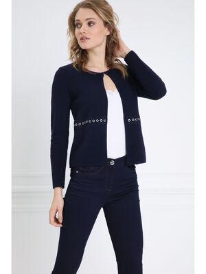 Gilet manches longues col rond bleu femme