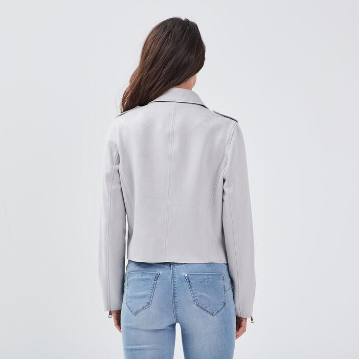 Veste droite effet suédine gris clair femme