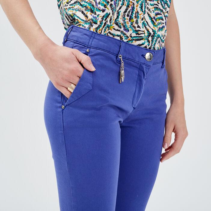 Pantalon chino ajusté bleu femme