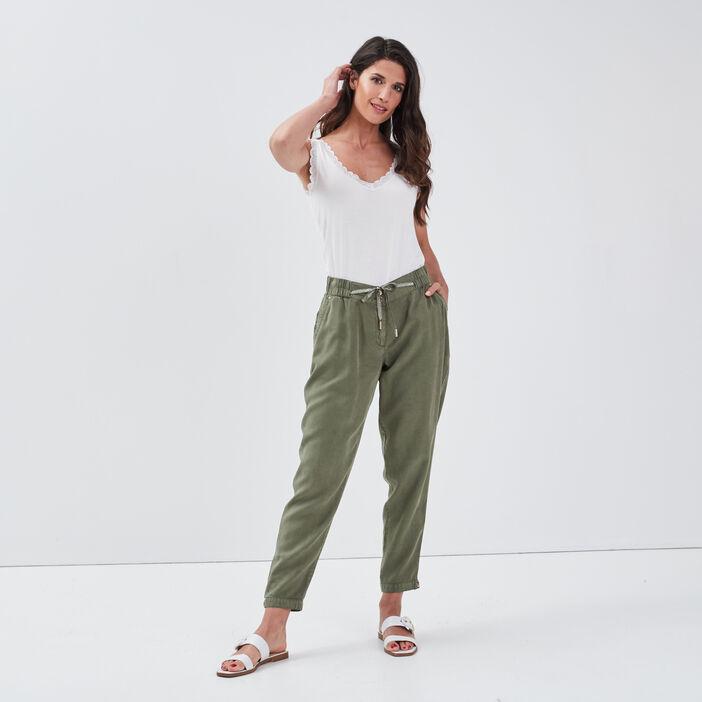 Pantalon flou taille standard vert kaki femme