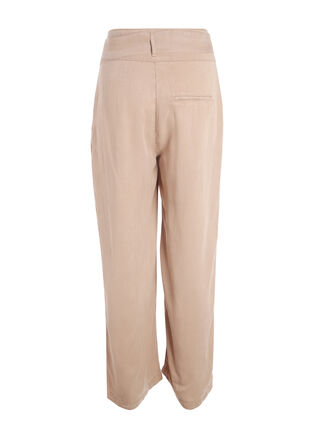 Pantalon fluide taille haute beige femme