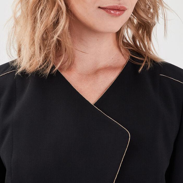 Veste droite détails bijoux noir femme
