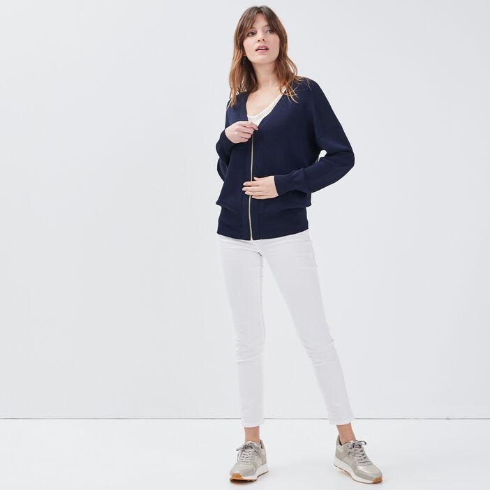 Gilet manches longues zippé bleu marine femme