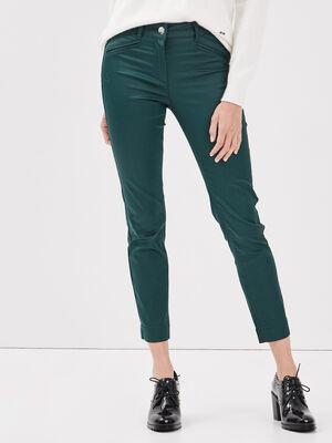 Pantalon ajuste enduit vert fonce femme