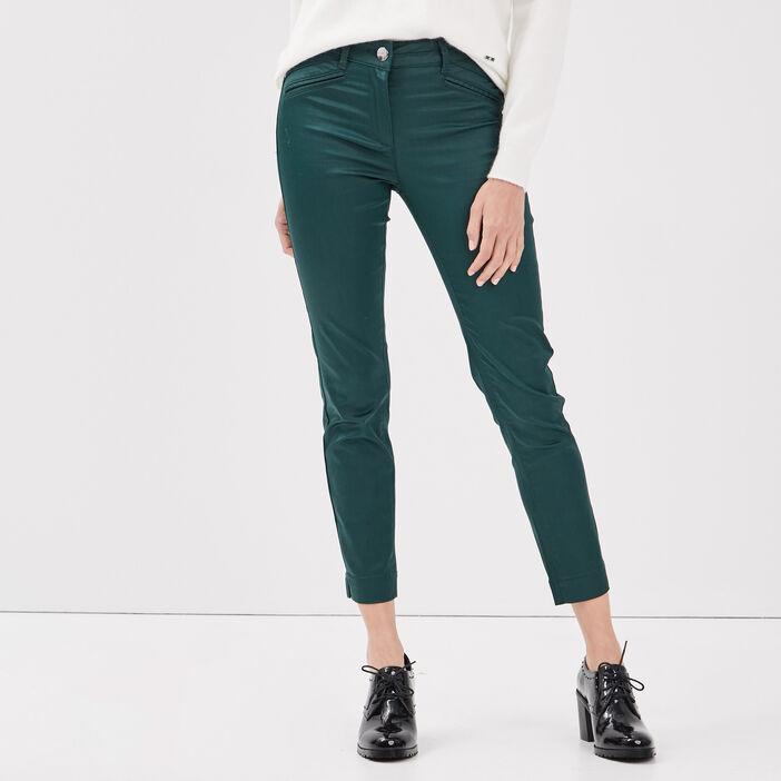 Pantalon ajusté enduit vert foncé femme