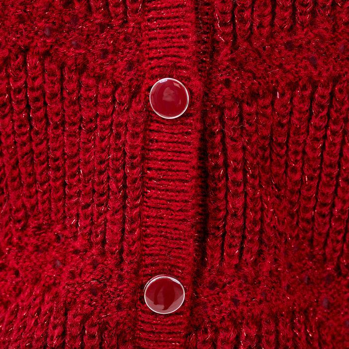Gilet boutonné réversible rouge foncé femme