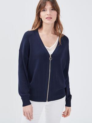 Gilet manches longues zippe bleu marine femme