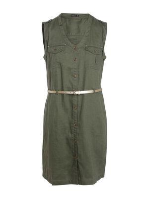 Robe courte ajustee a ceinture vert kaki femme
