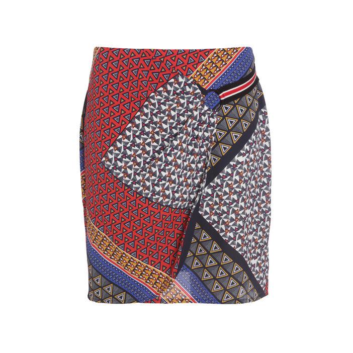 Jupe droite effet drapé multicolore femme