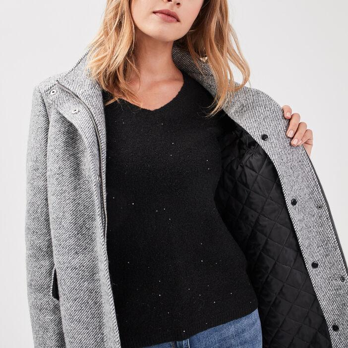 Manteau droit col montant gris foncé femme
