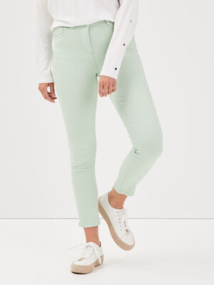 Pantalon leger toucher doux vert clair femme
