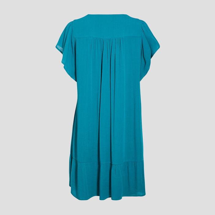 Robe évasée fluide vert émeraude femme