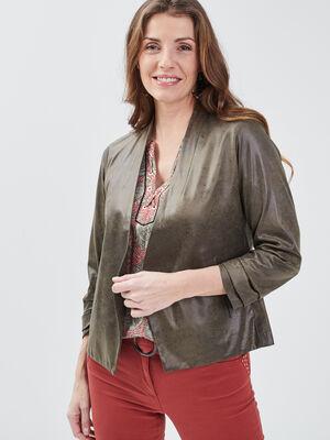 Veste droite col chale vert kaki femme