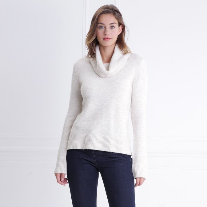 Pull col roulé maille extensible ecru femme