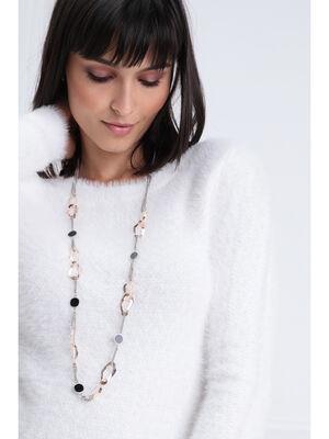 Collier long multimatieres couleur argent femme