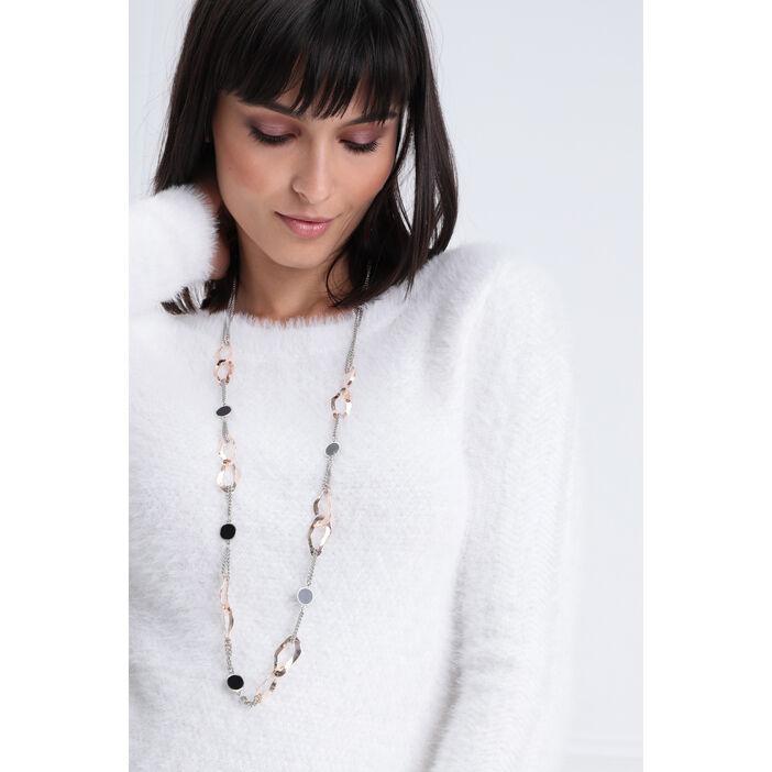 Collier long multimatières couleur argent femme
