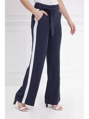 Pantalon large fluide bleu fonce femme