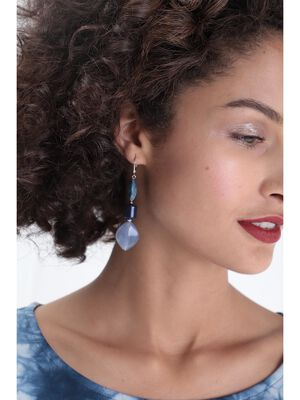 Boucles doreilles resine bleu clair femme